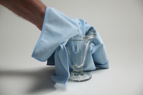 16x16 Blue Microfiber Glass Towel    100 Per Case