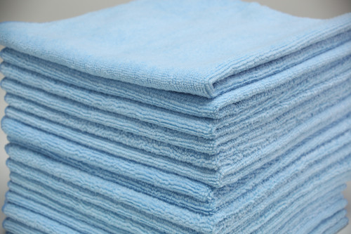 16x16 Blue Microfiber Terry Towel  | 100 Per Case