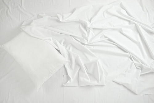 66 x 115 White 180 Thread Count Twin Flat Sheet - 12 per case