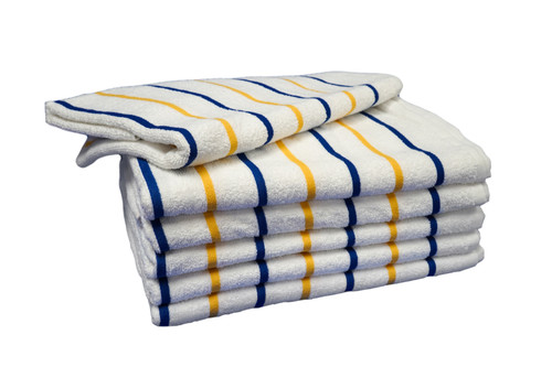 Pool Towels | 30x60 | Gold & Navy Stripe | 12 per case