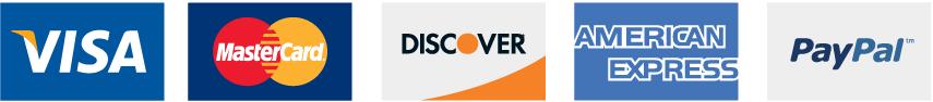 Visa Mastercard Discover American Express PayPal AmazonPay
