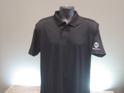 Black Performance Polo Mens with a white Guide Dogs of America logo on the left arm sleeve.