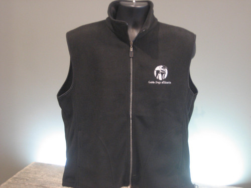 Fleece Black vest with drawstring wait. A white GDA logo is on the left chest.
