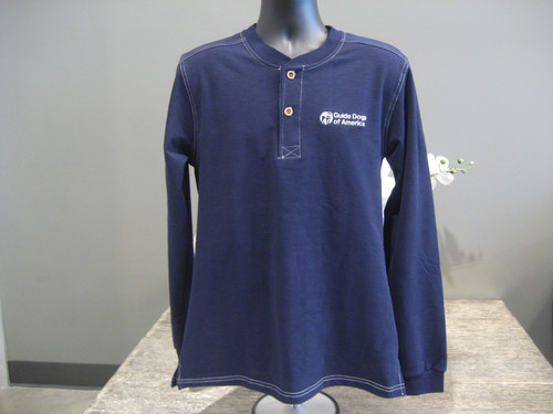 Blue Henley Slub with 2 buttons. A white Guide Dogs of America logo is on the left chest.