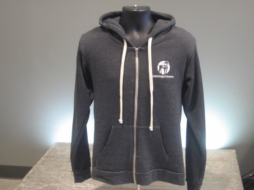 Charcoal Zip Hoodie. A White Guide Dogs of America logo is on the left chest.