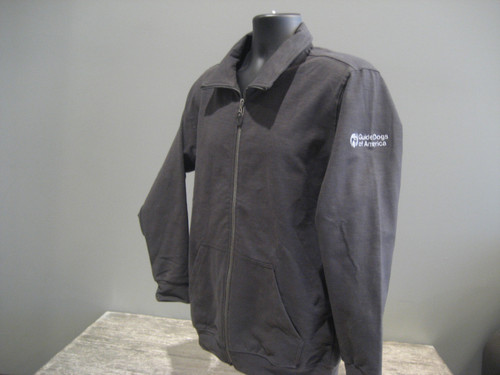 Men's Dark Gray Zip up sweater. A white Guide Dogs of America logo is on the left sleeve.