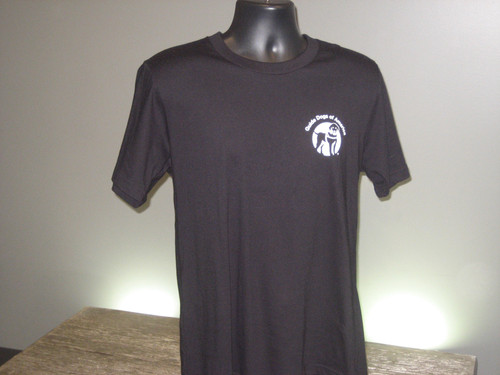 Black Crew Neck T with a white Guide Dogs of America logo on the left chest.