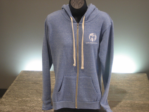 Royal Heather Zip Hoodie. Has a white Guide Dogs of America logo on the left chest.