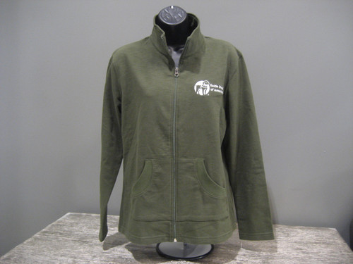 Ladies Lightweight Olive Jacket Full Zip with a white Guide Dogs of America Logo on the left chest.