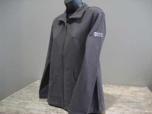 Women's Dark Gray Zip up sweater. A white Guide Dogs of America logo is on the left sleeve.