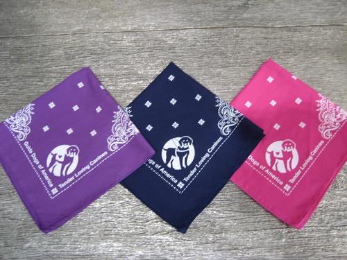 GDA-TLC Bandanas. Choose colors Purple, Navy blue, or Pink