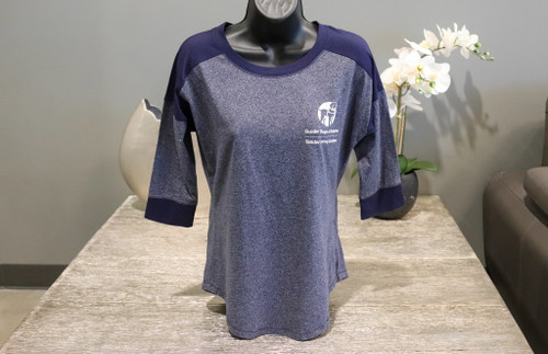 Navy baseball shirt with the GDA/TLC logo on the left chest