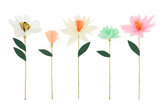 Flower Garden decorative sticks, pack of tissue paper flowers, 5 flower sticks
