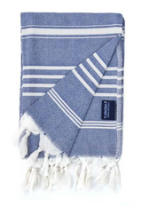 Hand towel, navy and natural, turkish towel from Turkish-t