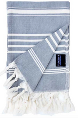 Hand and Kitchen Towel, charcoal and natural Turkish towel