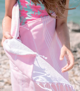 Basic Child's Beach Towel, light pink from Turkish-T, reversible turkish towel and terry cloth towel