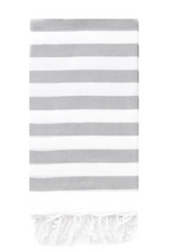 Rugby Towel, Grey, striped cotton towel from Turkish -T