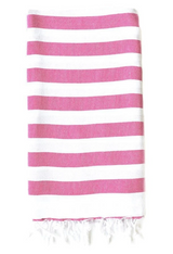 Rugby Striped hand towel, Fuchsia and white striped towel with hand tied fringes