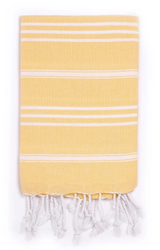 Hand towel , yellow with white stripes, Turkish towels