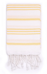 Hand Towel, White with Yellow stripes