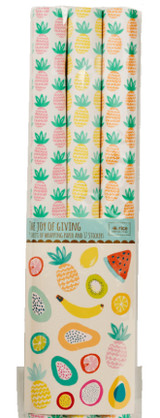 Pineapple gift wrap, 3 rolls with stickers