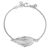 Blad, Bracelet unoxidized sterling silver 925, from Norwegian made Huldresolv in Norway