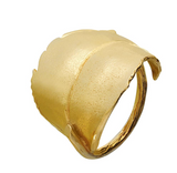 Blad, gold plated sterling silver ring, leaf ring is adjustable, Made in Norway by Huldresolv, Huldresolv in US