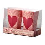 2 Tall Cups with Heart Print on Cream Base in Acetate Box