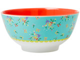 Melamine Bowl Two Tone with Aqua Flower Print
