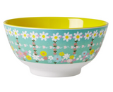 Large Melamine two tone bowl, RETRO FLOWER print, By Rice.dk
