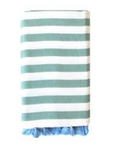 Beach Candy Rugby Blanket, Green and white with tassels