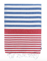 Lucy Beach Blanket, navy with red stripes