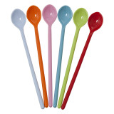 Melamine Long Spoons in Bright Colors, pack of 6.