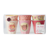 Set of 6 small melamine cups in girl camper print, MELCU-6SGCAMXC by Rice.dk