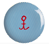 Kids melamine plate with sail stripes and anchor print from Rice
