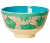Small Melamine Bowl, Leaf & Flower Print