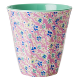 Melamine Medium cup with Pink Cascading Flower print from Rice.dk