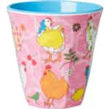 Melamine Medium cup with Pink Hen print from Rice.dk