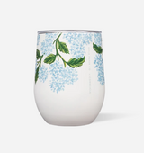 Stemless wine tumbler in Hydrangea print, Corkcicle Rifle Paper Co drinking cup