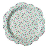 8 Flower Shaped paper plates in Flower Tile print