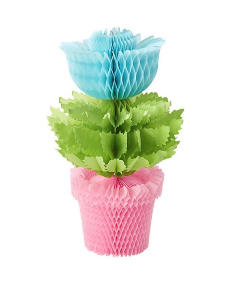 Honeycomb Paper Flower, Blue, Rice Dk
