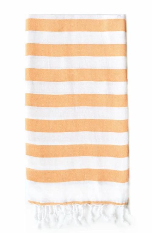 Hand towel, Rugby Stripe, Burned orange and white