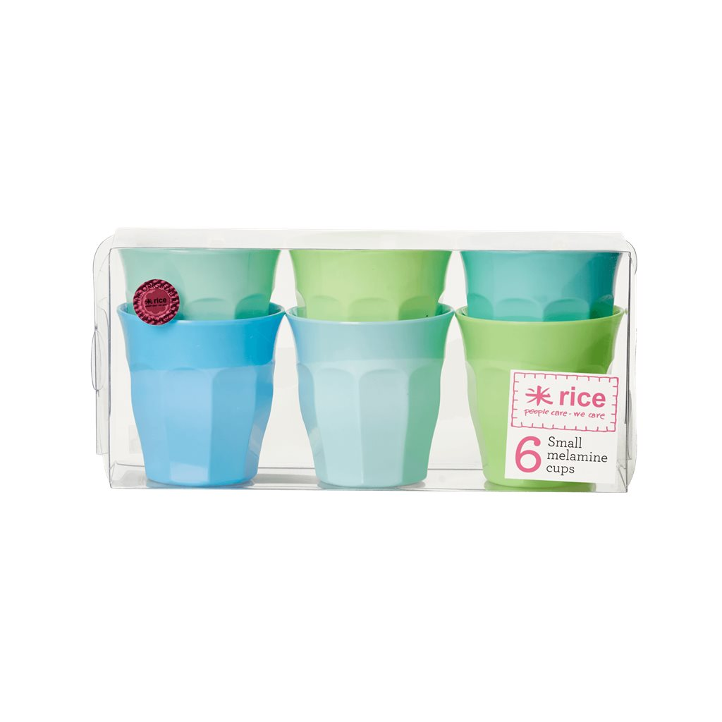 Small melamine cups in blue green assortment, Danish design by Rice.dk
