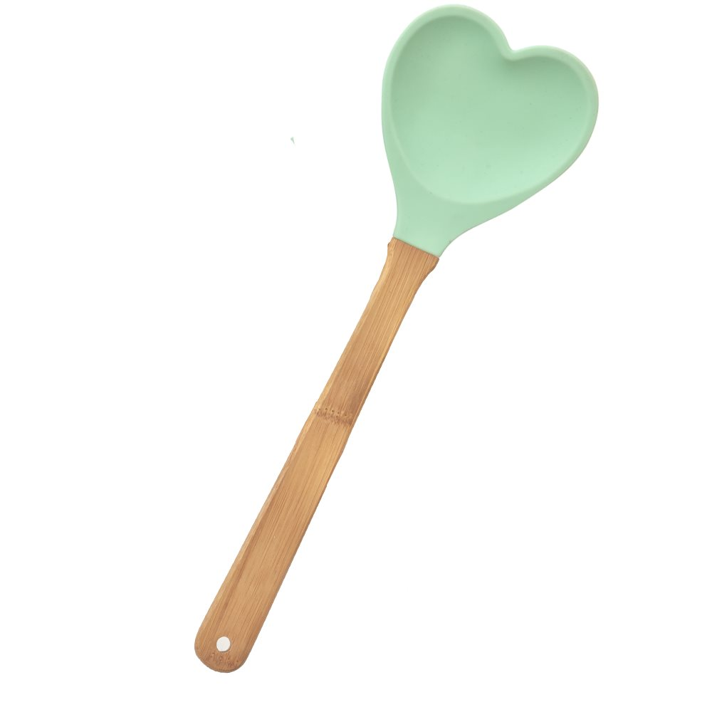 Kitchen Silicone Heart shaped Spoon in Pastel Green