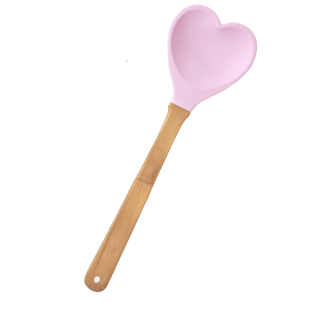 Kitchen Silicone Heart shaped Spoon in Pale Pink
