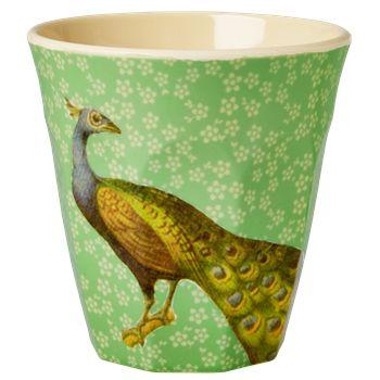Melamine Medium cup with Aqua Peacock print from Rice.dk