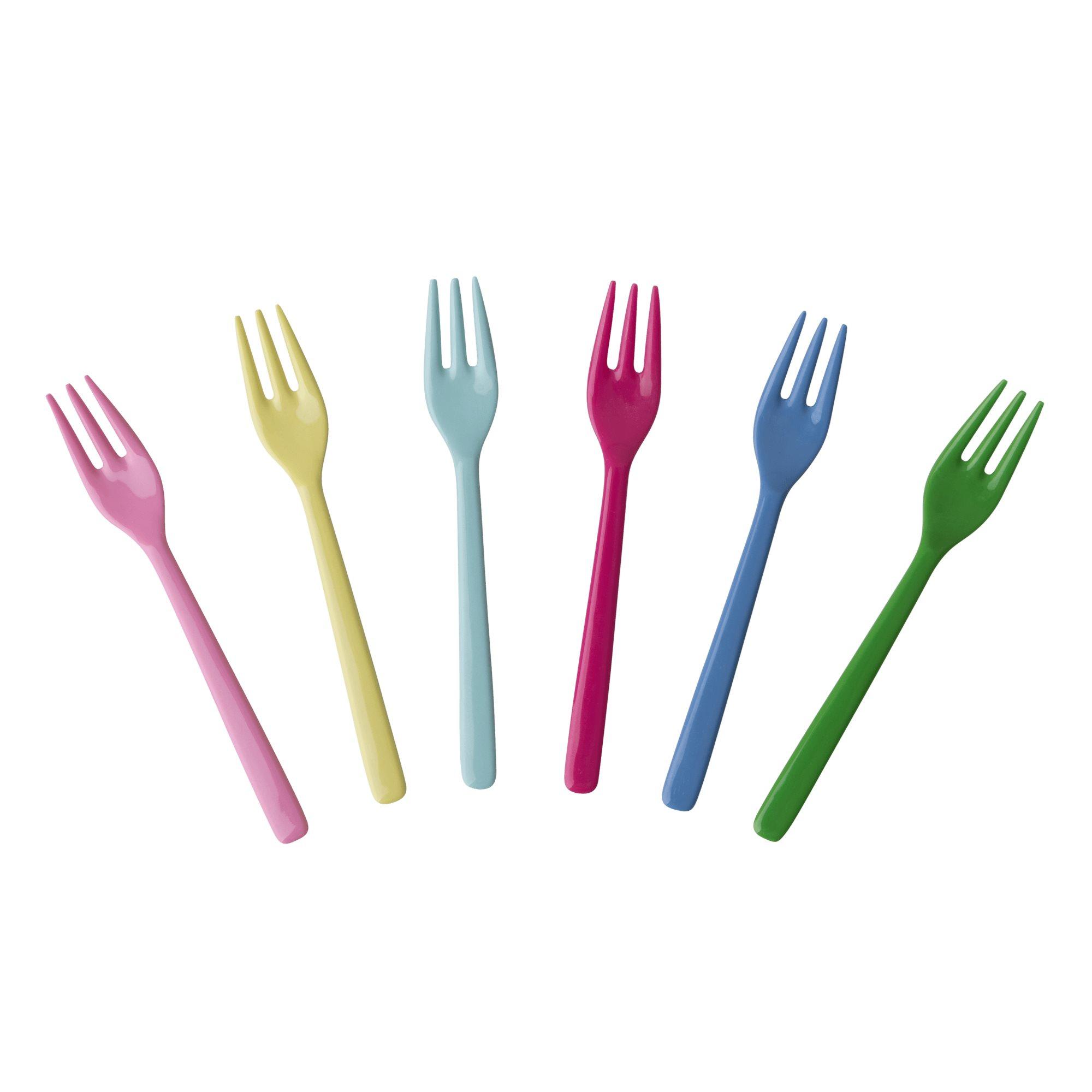 Melamine Forks in Clasic colors, set of 6