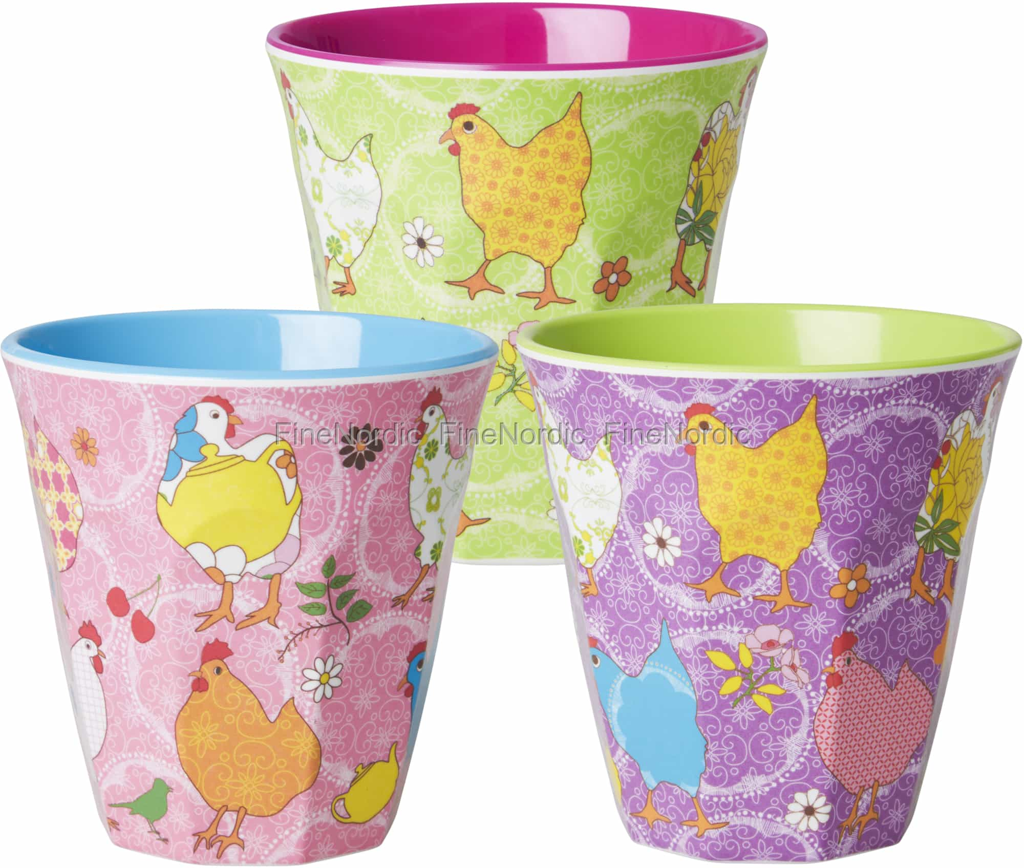 Melamine Medium cup with Green Hen print from Rice.dk