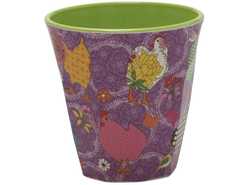 Melamine Medium cup with Purple Hen print from Rice.dk