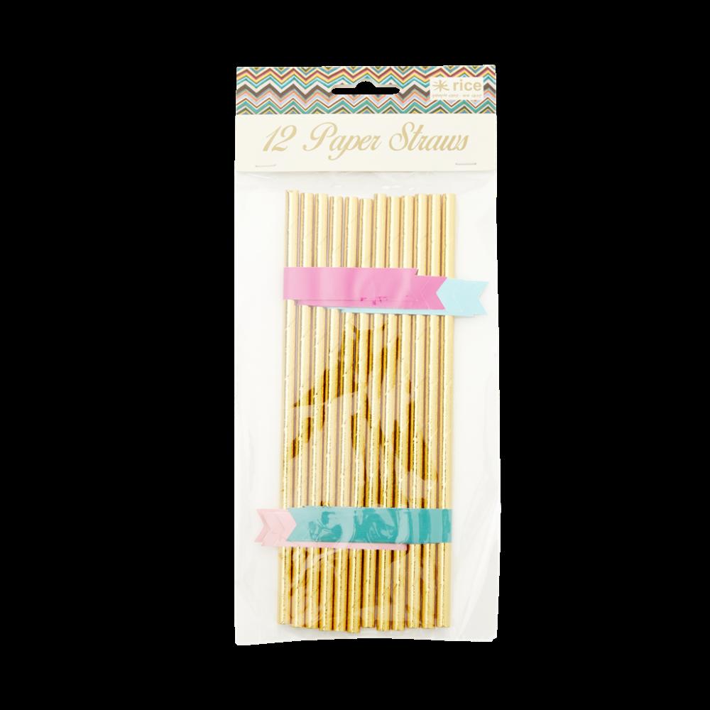 Gold paper straws, 12.